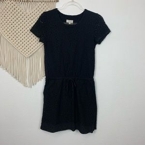 Lou & Grey Black Eyelet Tie Waist Mini Dress Sz XS